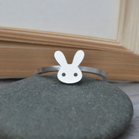bunny rabbit ring with straight ears in sterling silver