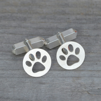Hollow Pawprint Cufflinks In Sterling Silver