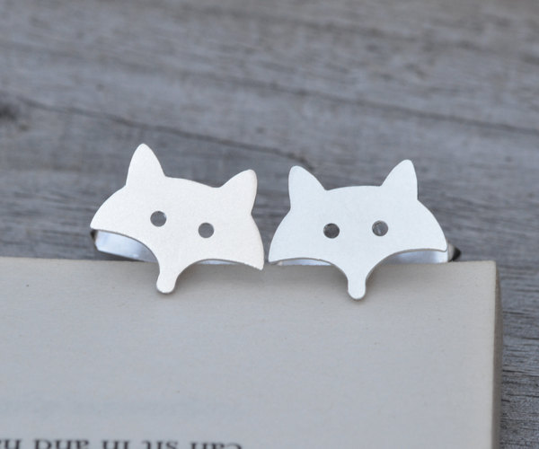 Fox Cufflinks In Sterling Silver