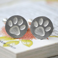 Solid Pawprint Cufflinks In Sterling Silver
