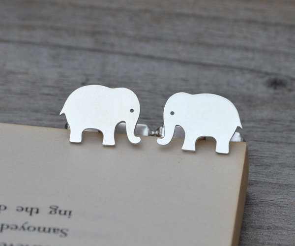 Elephant Cufflinks In Solid Sterling Silver