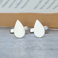 Raindrop Cufflinks In Solid Sterling Silver
