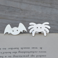 Bat. And Spider Cufflinks In Sterling Silver