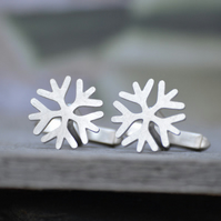 Snowflake Cufflinks In Solid Sterling Silver