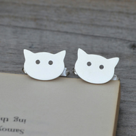 Cat Cufflinks In Solid Sterling Silver