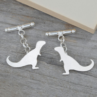 T-Rex Dinosaur Cufflinks In Sterling Silver