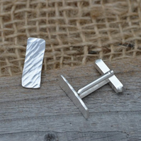 Rectangular Cufflinks With Textured Surface In Sterling Silver