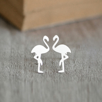 Flamingo Earring Studs In Sterling Silver