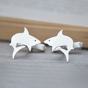 Shark Cuff Links In Sterling Silver