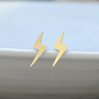 Lightning Bolt Earring Studs In Gold