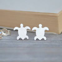 Sea Turtle Earring Studs In Sterling Silver