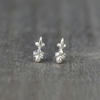 Tiny Fleur De Lis Earring Studs In Solid Sterling Silver