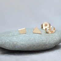 Tiny Quadrilateral Earring Studs In 9ct Yellow Gold