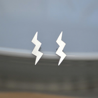 Sterling Silver Lightning Ear Studs