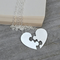 Interlocking Jigsaw Puzzle Heart, Lover's Necklaces
