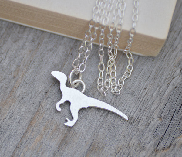 Velociraptor Necklace, Dinosaur Necklace In Sterling Silver