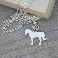 Horse Necklace In Sterling Silver