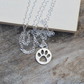 Hollow Pawprint Necklace In Sterling Silver