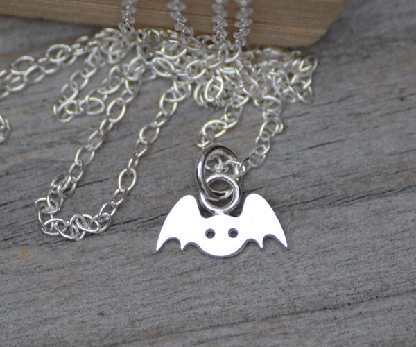 Tiny Bat Necklace In Sterling Silver