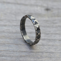 Harlequin Textured Ring In Antique Style, Stacking Ring In Sterling Silver