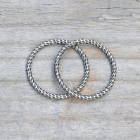Textured Ring In Antique Style, Stackable Ring In Sterling Silver