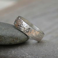 Textured Wedding Band 5.5 mm Wide In Sterling Silver