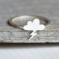 Lightning Cloud Ring In Sterling Silver