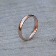 Rose Gold Wedding Band, Heavy Domed Comfort Fit Wedding Ring