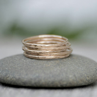 Slim Stacking Rings in 14K Yellow Gold, Rustic Stackers