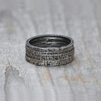 Stackable Textured Sterling Silver Rings