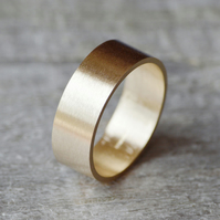 Flat Wedding Ring Wedding Band In 9ct Yellow Gold 8mm Wide Satin Finish