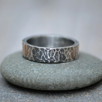 Oxidised Hammered Effect Wedding Band in Sterling Silver 5.5mm Wide