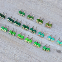 Green Color Pencil Ear Studs, Green Earring Stud, 18 Shades Of Green