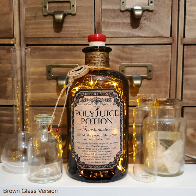 Polyjuice Potion Brown Apothecary Potion Bottle Lamp