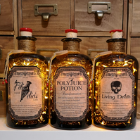 3 x Polyjuice Potion Felix Felicis and Living Death Lamp Set
