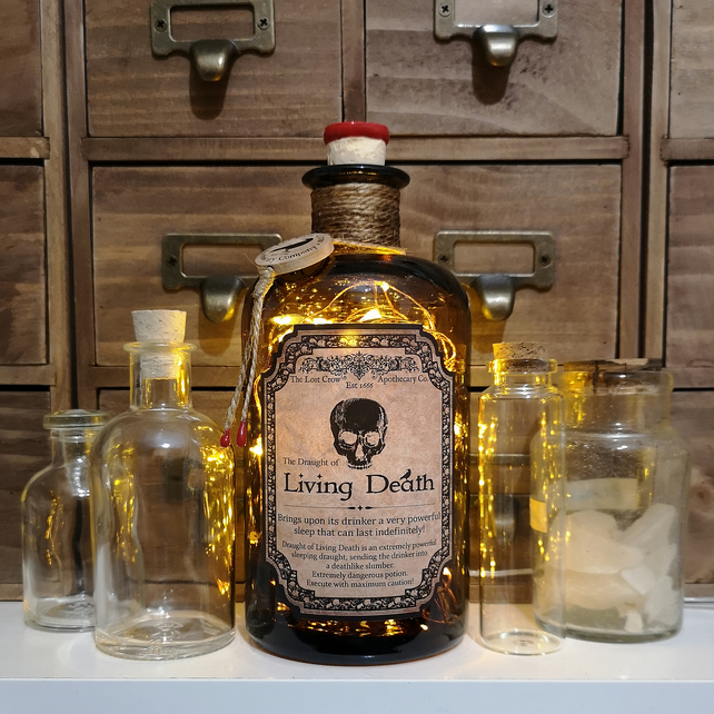Draught Of Living Death Brown Apothecary Potion Bottle Lamp