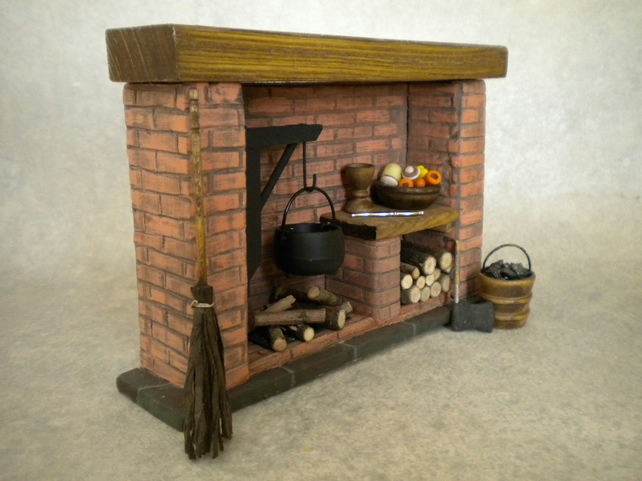 Dolls house tudor fireplace red brick cooking folksy for Tudor fireplaces
