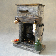 Dolls House Fireplace - Stone Kitchen Tudor, Medieval, Cottage, Rustic , 1:12th