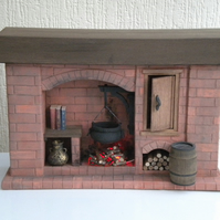 1:12th Dolls House Red Brick Fireplace Tudor Medieval Colonial Walk In Style