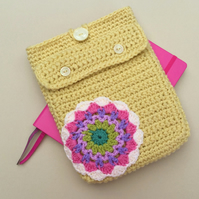 Boho A5 journal case with stationery pocket and mandala motif.  Planner cover.