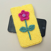 Floral mobile phone sleeve with card pocket. iPhone 6 case. iPhone 7 cover.