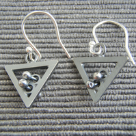 Triangle quirky earrings, geometric tactile oxidized black silver. unique