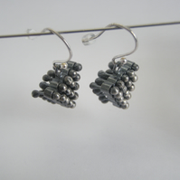 Triangle tactile earrings, oxidized silver