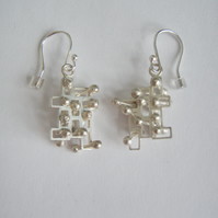 Large kinetic dangly earrings, interactive, fidget, polished Silver