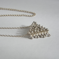 Large triangle tactile silver pendant