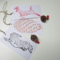 Hand printed gift tags for presents, Linocut labels, Lino printed tags for gifts