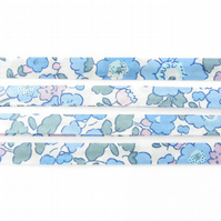 Betsy A - Liberty fabric bias binding in blue and white