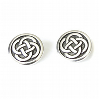 1x celtic knot button, TierraCast metal shank button for leather bracelets