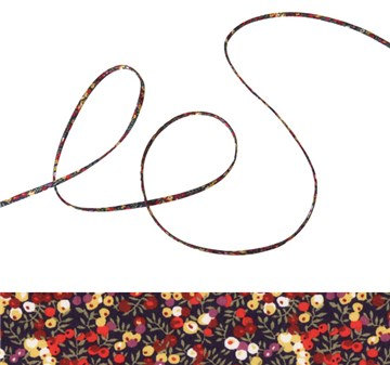 Wilmslow Berry A - Liberty fabric spaghetti cord, jewellery making