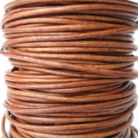 5xm leather cord in 2mm, tobacco brown leather cord for bracelet making